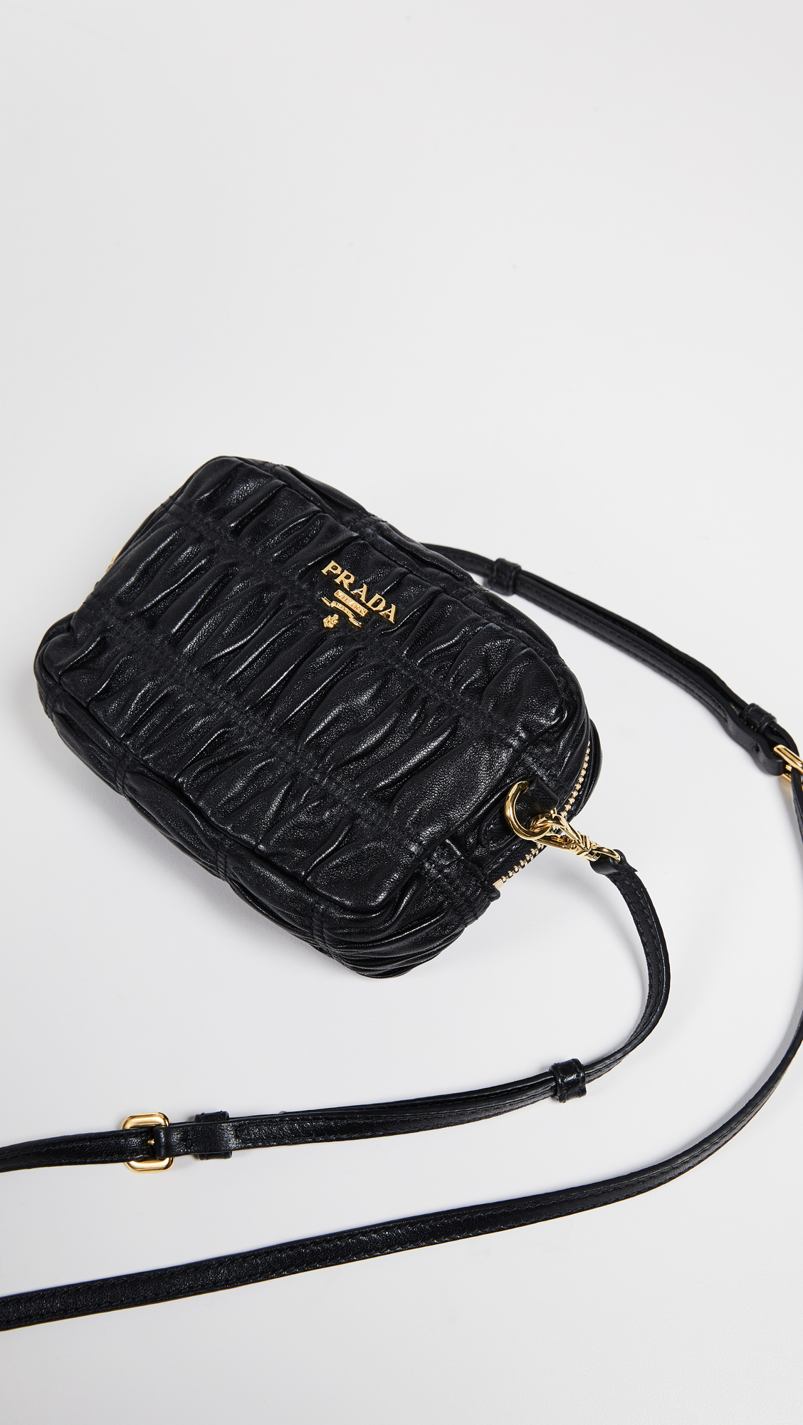 19f3926d254140 What Goes Around Comes Around Prada Black Nappa Gaufre Mini Bag | SHOPBOP