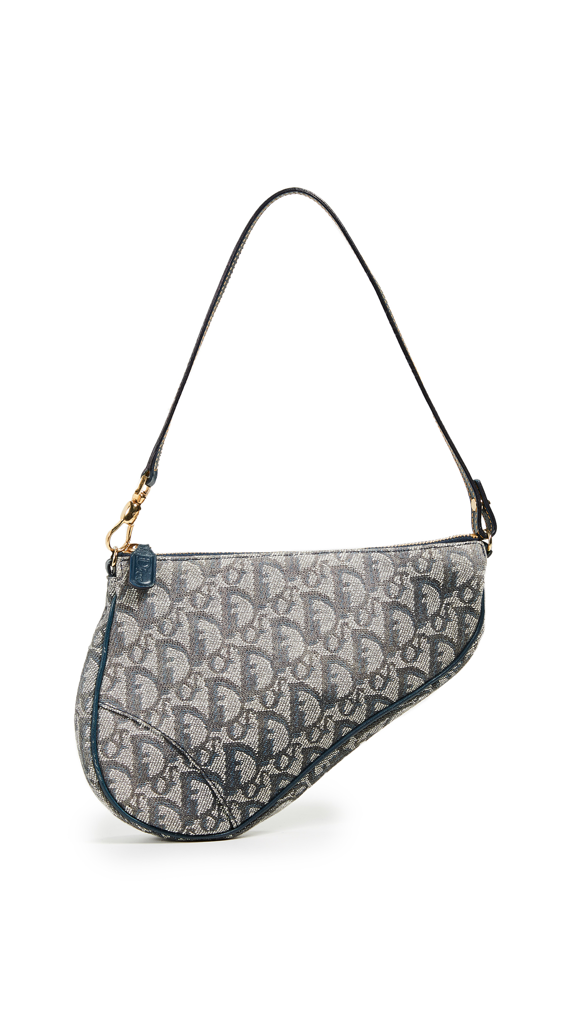 WHAT GOES AROUND COMES AROUND Dior Trotter Mini Saddle Bag in Navy
