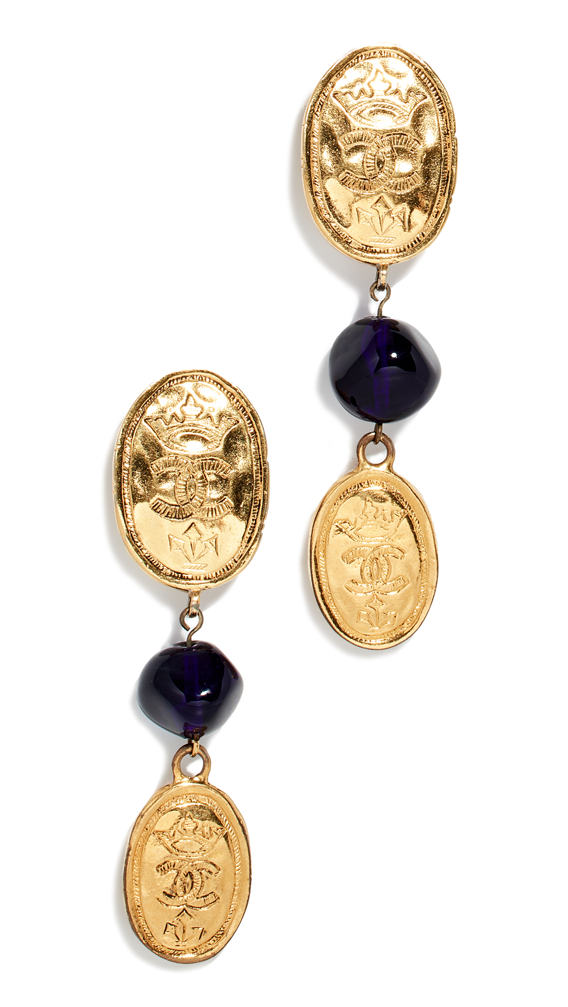 WHAT GOES AROUND COMES AROUND Chanel Oval Crown Earrings in Blue