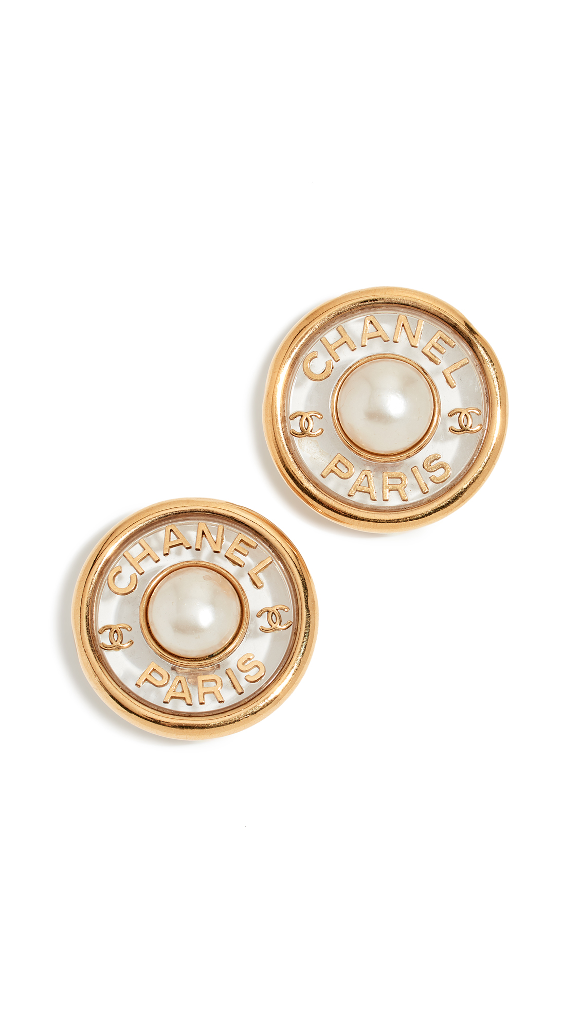 WHAT GOES AROUND COMES AROUND Chanel Imitation Pearl Center Button Earrings in Gold