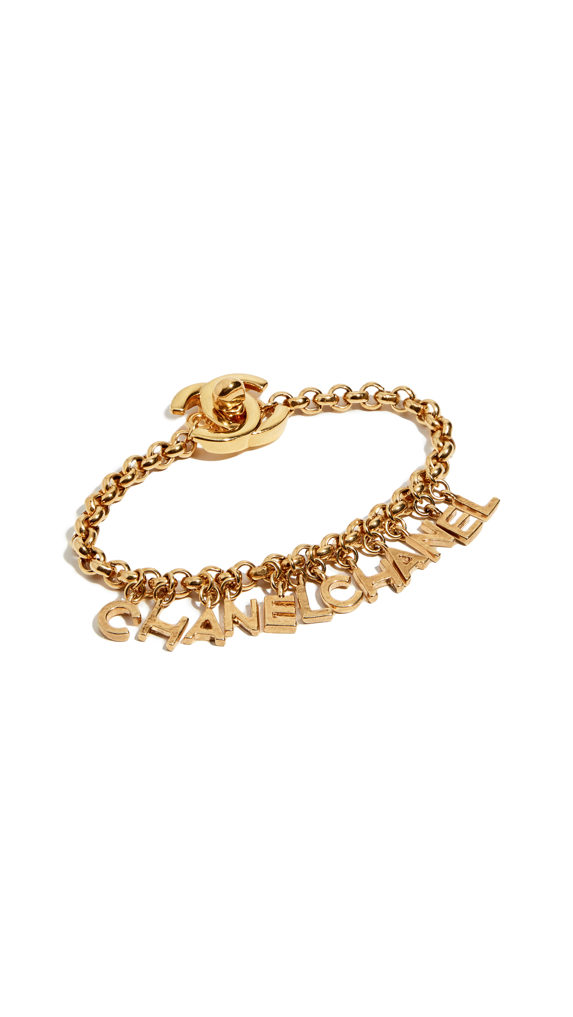 WHAT GOES AROUND COMES AROUND Chanel Letters Charm Bracelet in Gold