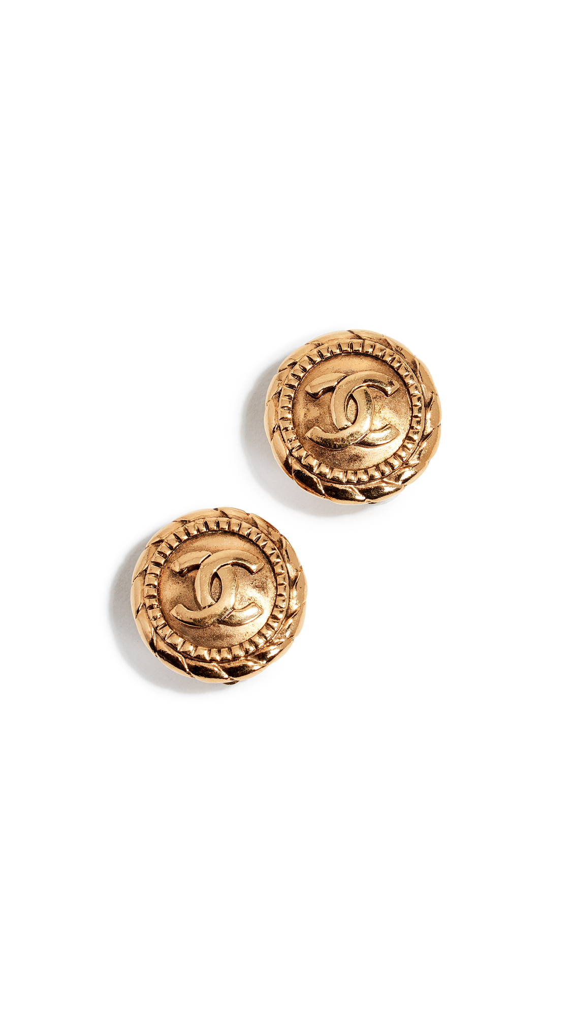 WHAT GOES AROUND COMES AROUND Chanel Gold Rope Edge Cc Earrings