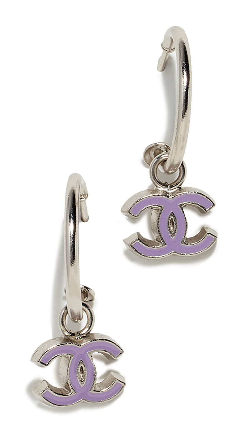 WHAT GOES AROUND COMES AROUND Chanel Enamel Cc Earrings in Silver