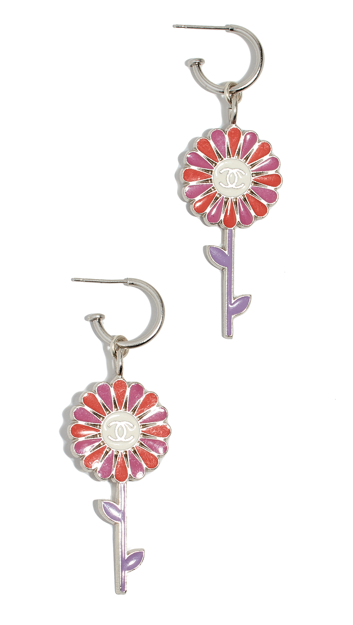 WHAT GOES AROUND COMES AROUND Chanel Red Enamel Daisy Cc Earrings