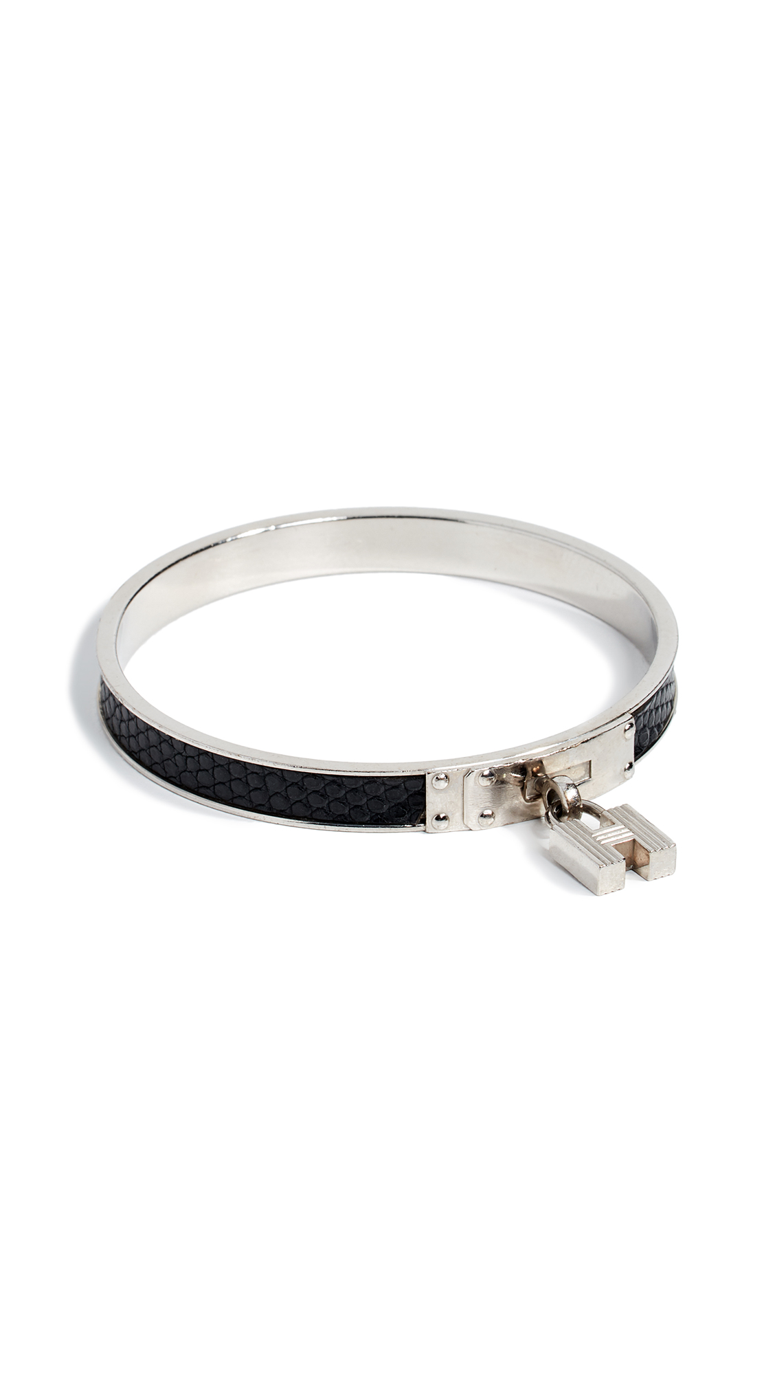 WHAT GOES AROUND COMES AROUND Hermes Black Silver Kelly Bangle