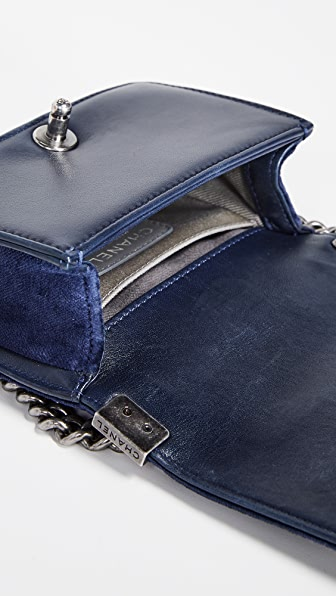 51124bc8151c Shop What Goes Around Comes Around Chanel Velvet Mini Boy Bag In Navy