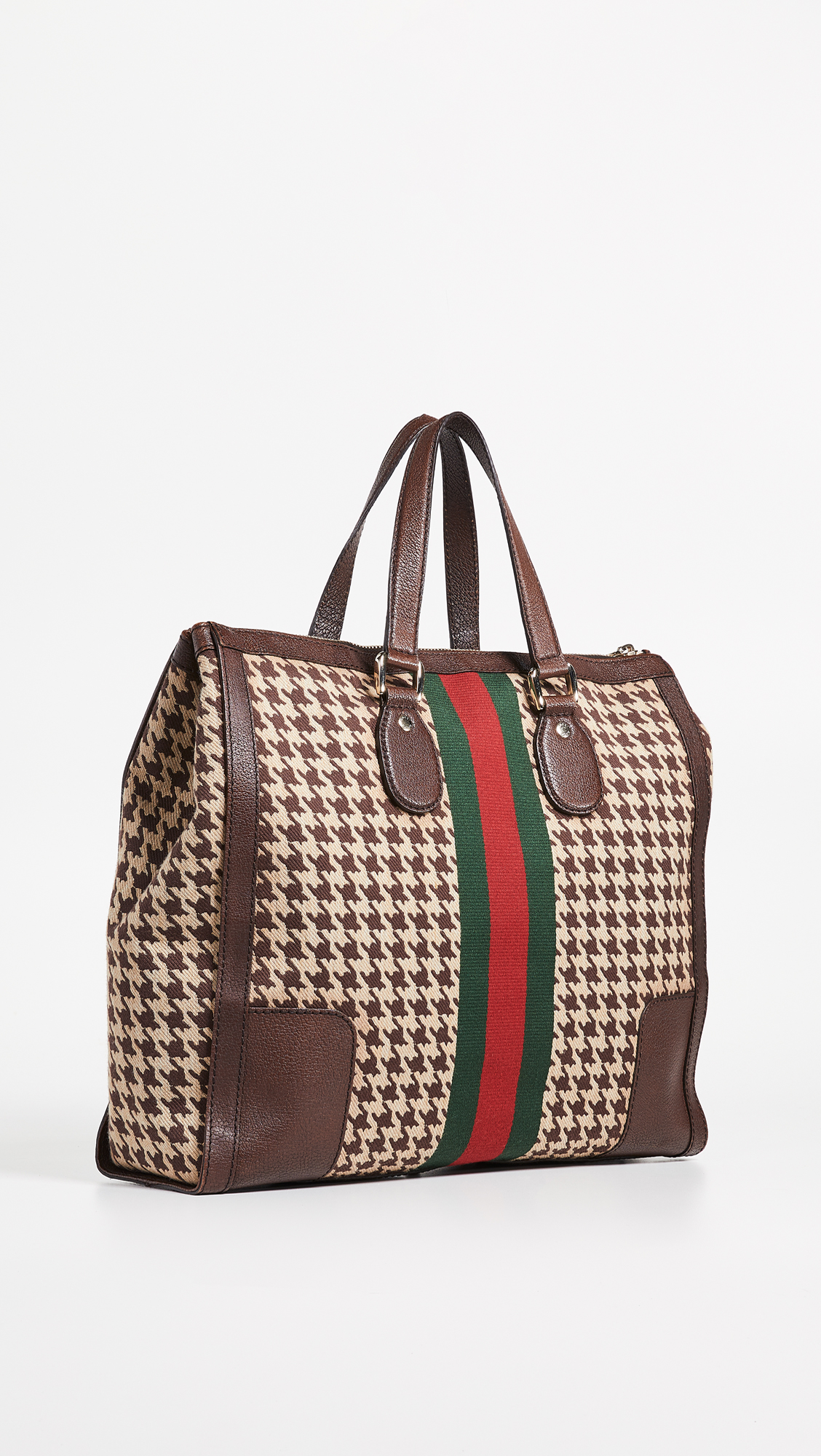 3daf8035bb6 What Goes Around Comes Around Gucci Houndstooth 70s Web Tote