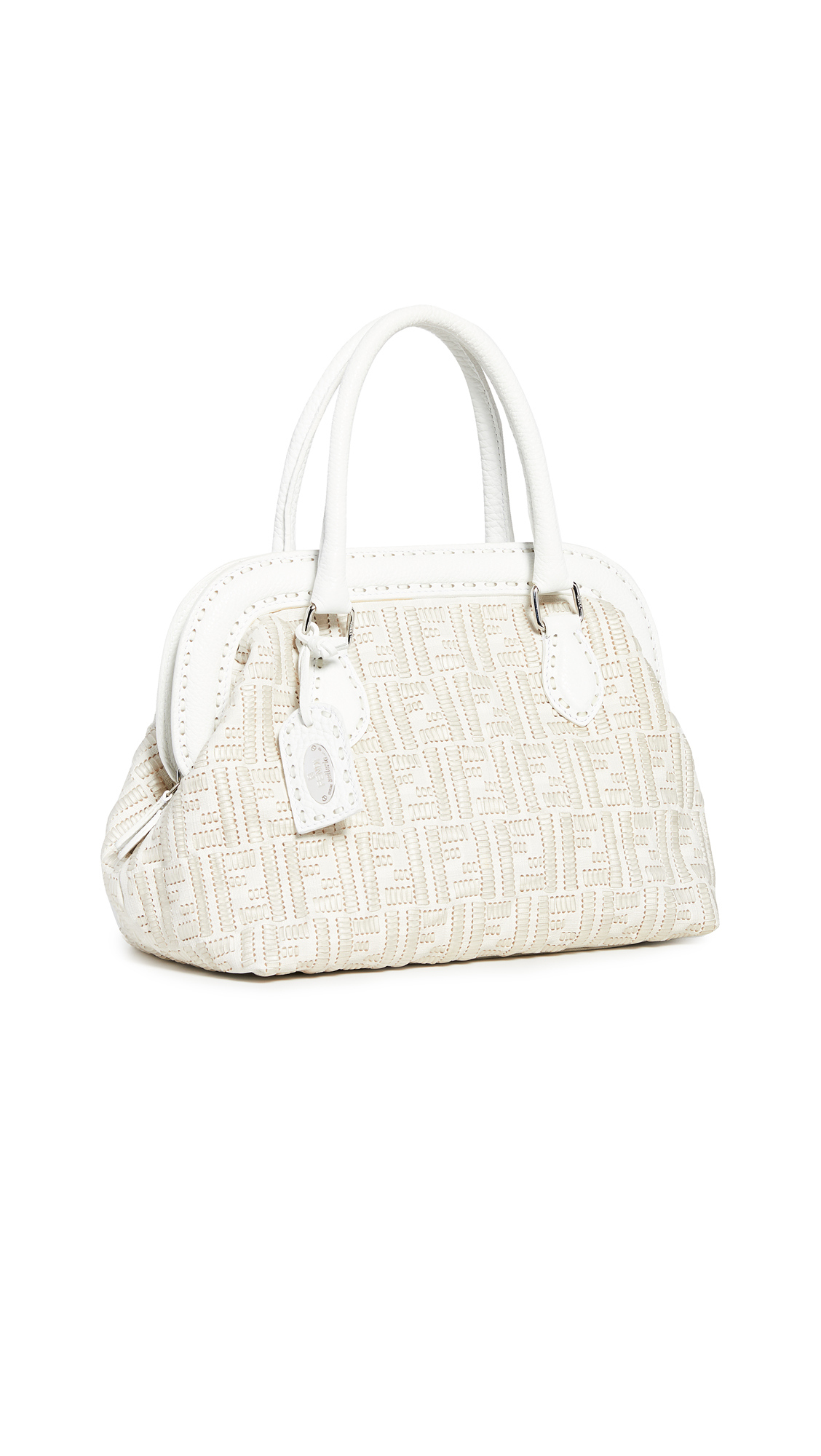 e266d236cebf WHAT GOES AROUND COMES AROUND | What Goes Around Comes Around Fendi White  Woven Handbag |. SHOP