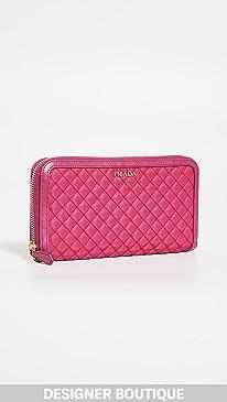 ac36298f0b0cf3 What Goes Around Comes Around. Prada Pink Tessuto Zip Around Wallet