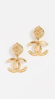 What Goes Around Comes Around Золотые висячие серьги Chanel