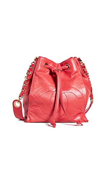 What Goes Around Comes Around Chanel Red Lambskin Bucket Bag - Red