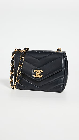 What Goes Around Comes Around Chanel Navy Chevron Flap Mini Bag
