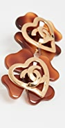 What Goes Around Comes Around Chanel Tort Clover Heart Earrings