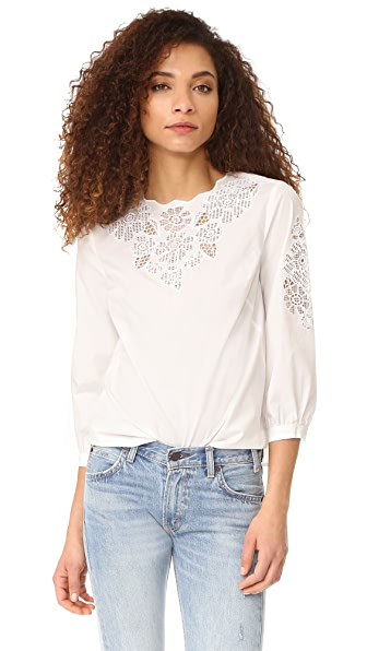 Whistles Beatrice Cutwork Top In Ivory