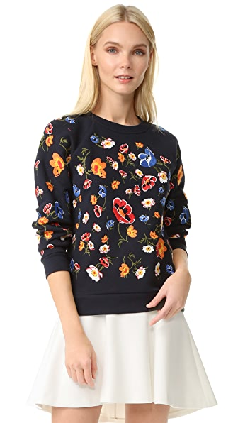 Whistles Embroidered Flower Sweatshirt