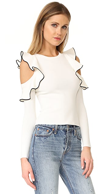 Whistles Tipped Detail Cold Shoulder Top