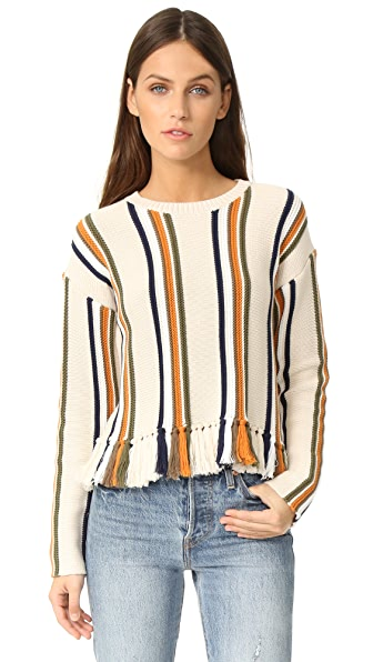 Whistles Fringe Detail Stripe Sweater - Multi