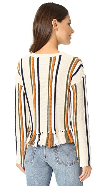 Whistles Fringe Detail Stripe Sweater