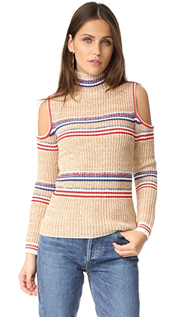 Whistles Stripe Chunky Knit Cold Shoulder Sweater