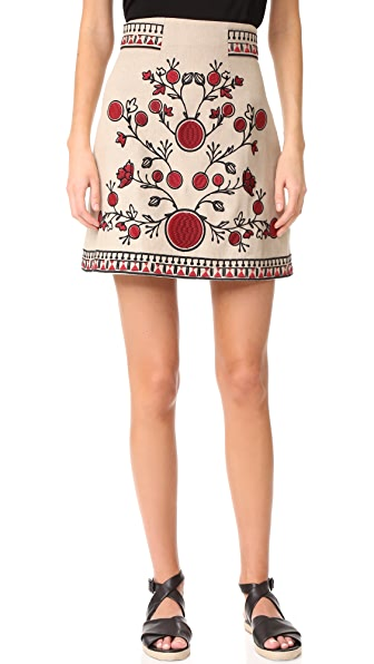 Whistles Delia Embroidered Skirt In Multi