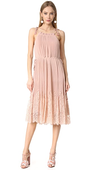 Whistles Lillan Pleated Lace Mix Dress In Pale Pink