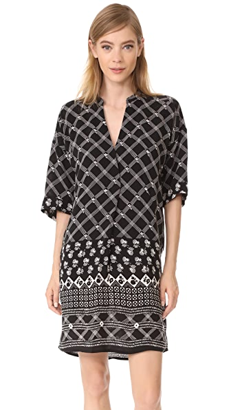 Whistles Cross Hatch Print Dress - Black/White