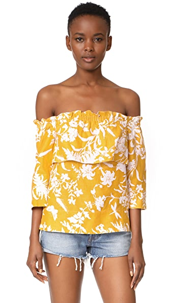 Whistles Freja Cornfield Print Linen Top In Yellow/Multi
