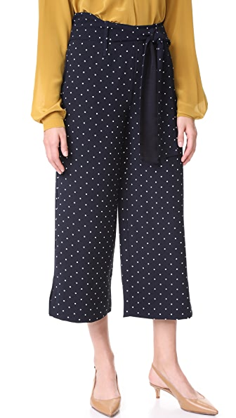 Whistles Spot Crop Trouser In Navy