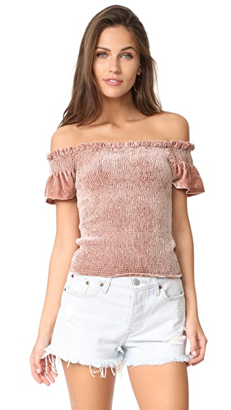 Whistles Phi Phi Smocked Velvet Top - Pink