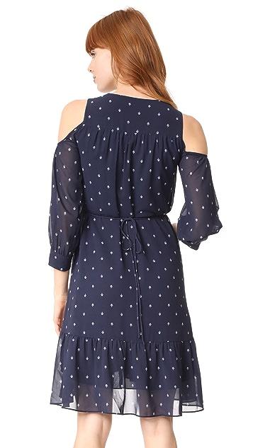 Whistles Fleur De Lis Print Cold Shoulder Dress