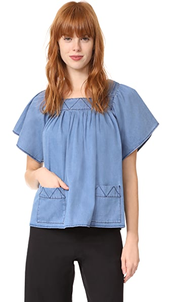 Whistles Square Neck Denim Blouse - Blue
