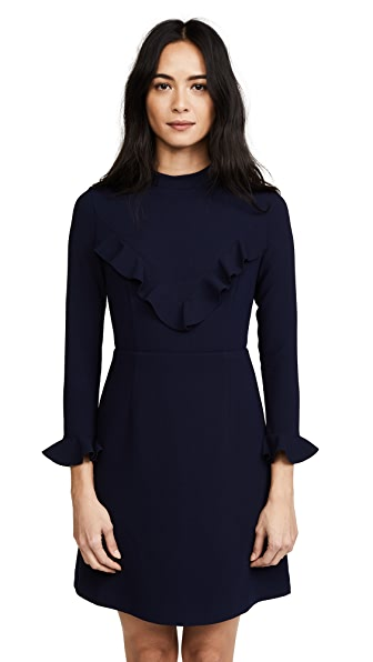 Whistles Maike V Frill Crepe Dress In Navy