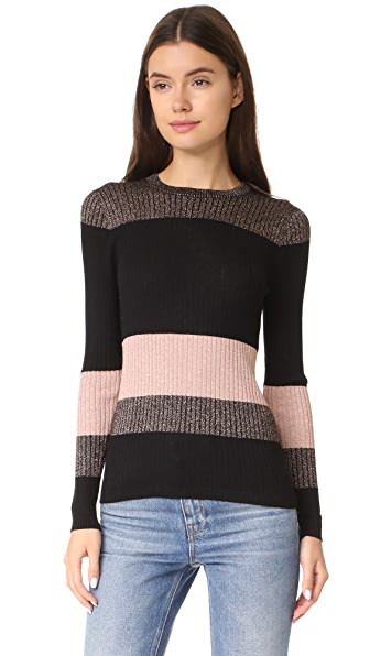 Whistles Colorblock Striped Sparkle Knit Sweater