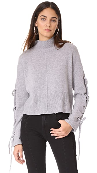 Whistles Lace Up Sleeve Sweater In Grey Marl