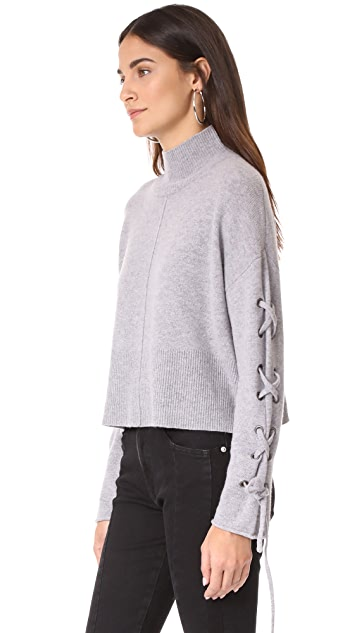 Whistles Lace Up Sleeve Sweater