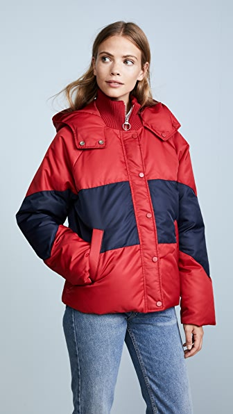 Whistles Iva Casual Puffer Jacket - Red