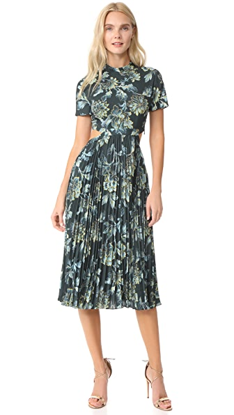 Whistles Lyle Print Alexandra Pleated Dress In Multicolor
