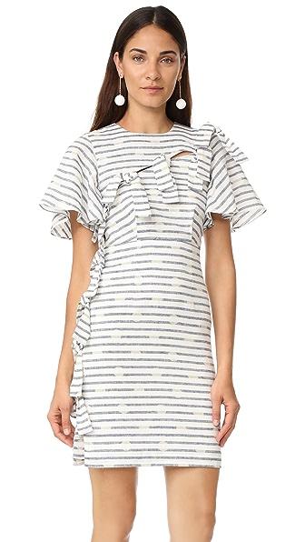 Whit Tie Dress In Navy/White