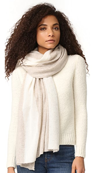 White + Warren Cashmere Color Spliced Travel Wrap