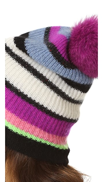White + Warren Cashmere Multicolor Stripe Beanie with Pom Pom