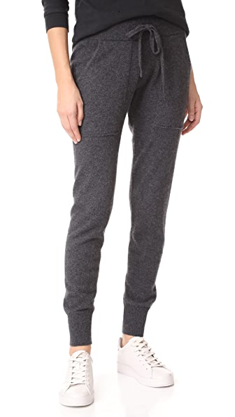 White + Warren Essential Cashmere Pants In Charcoal Heather