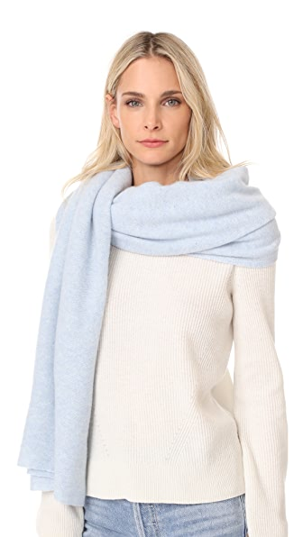 White + Warren Cashmere Travel Wrap Scarf - Chalk Blue Heather