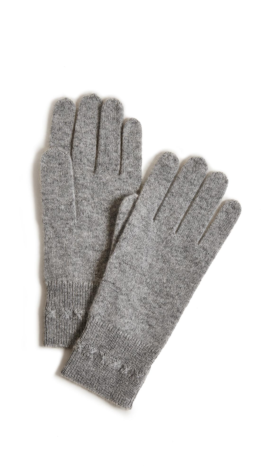 White + Warren Cashmere Cross Stitch Gloves - Grey Heather