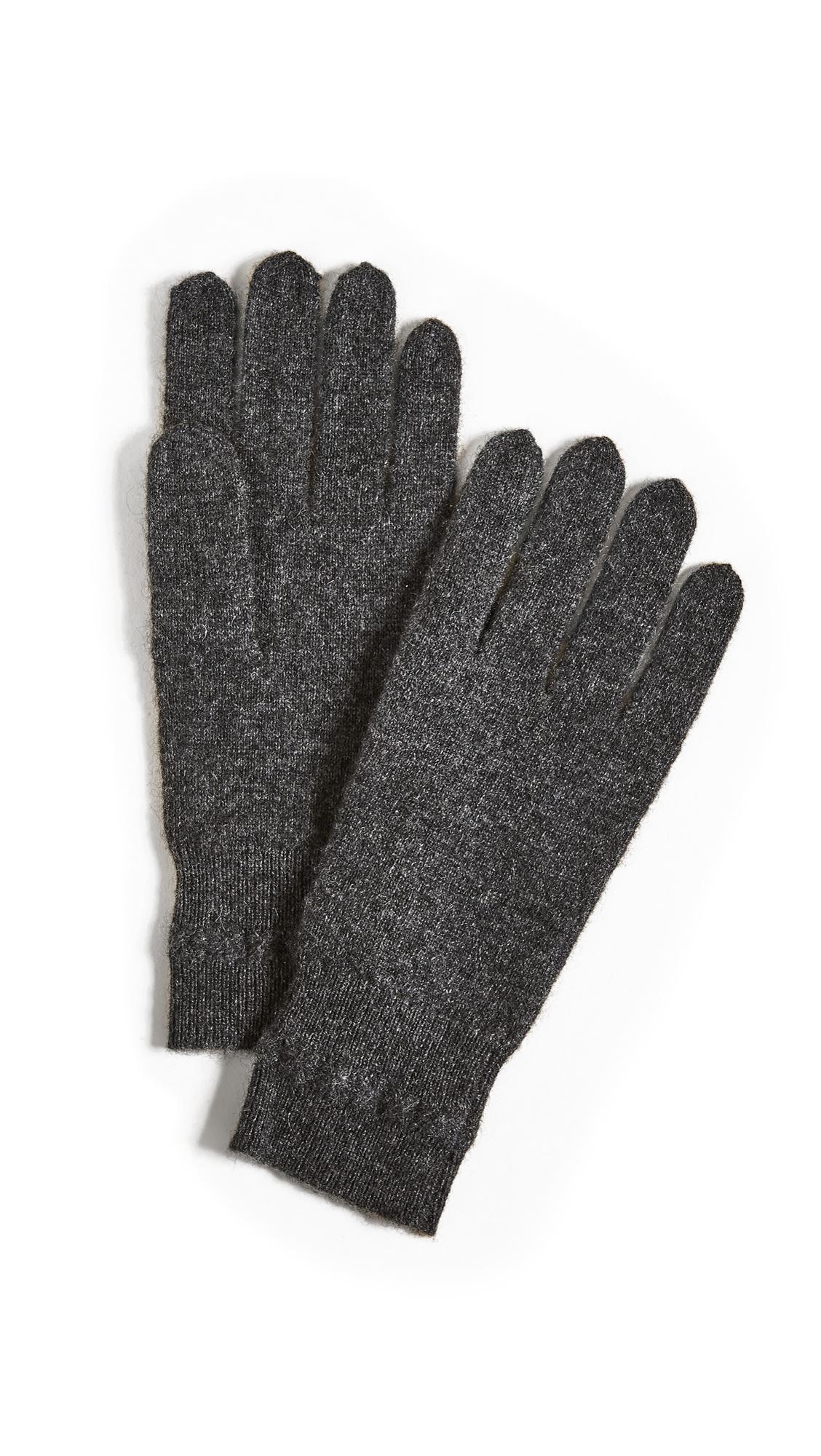 White + Warren Cashmere Cross Stitch Gloves - Charcoal Heather