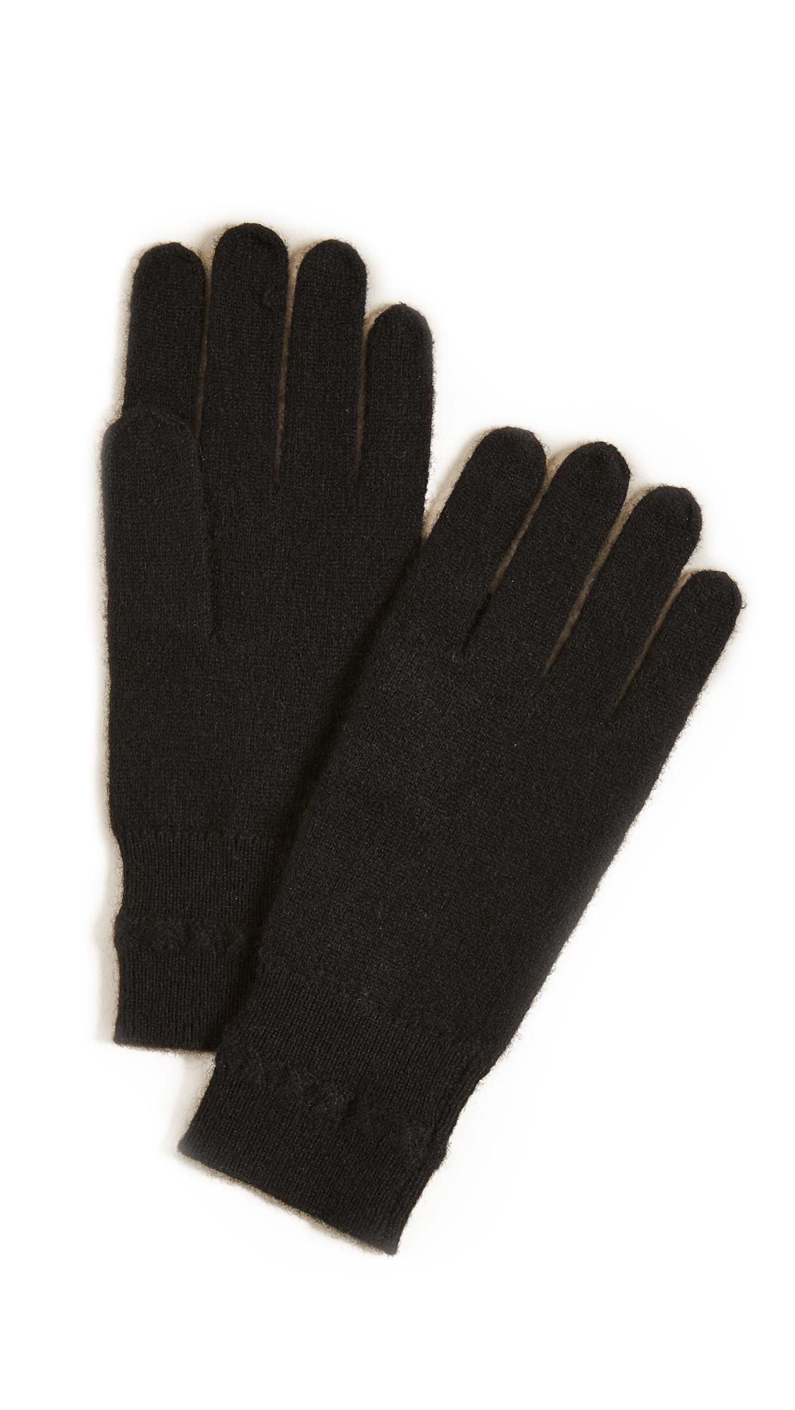 White + Warren Cashmere Cross Stitch Gloves - Black