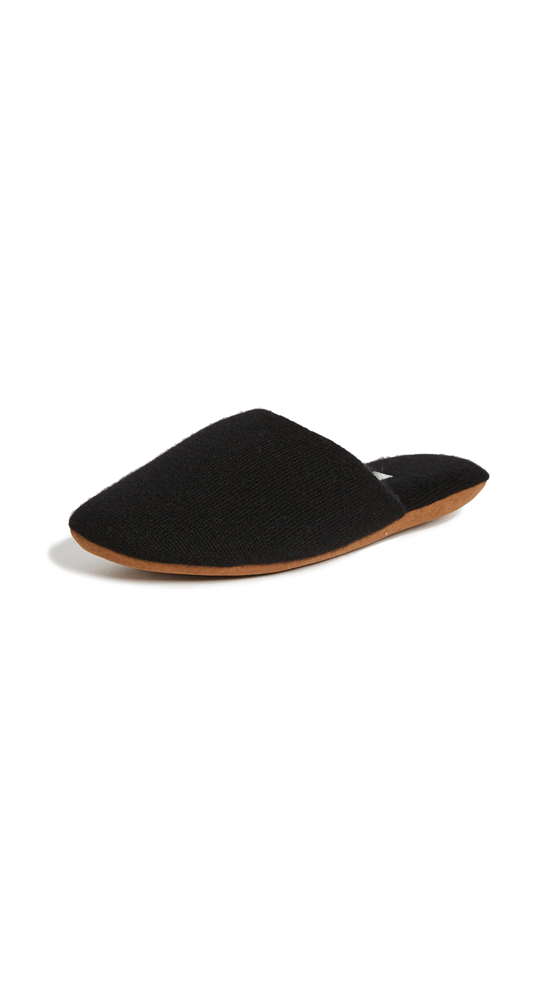 White + Warren Cashmere Slide Slippers - Black
