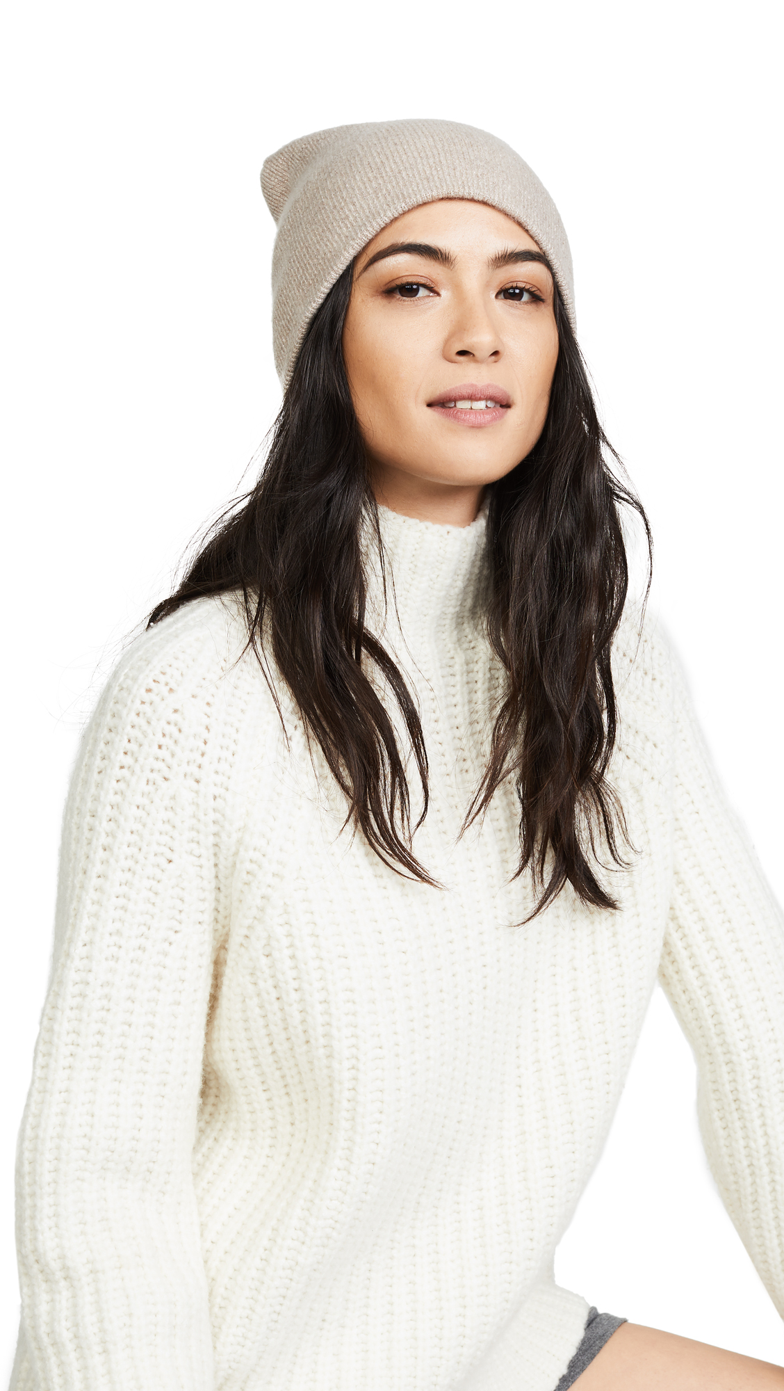 White + Warren Cashmere Shine Pom Pom Cuffed Beanie - Biscuit Shine