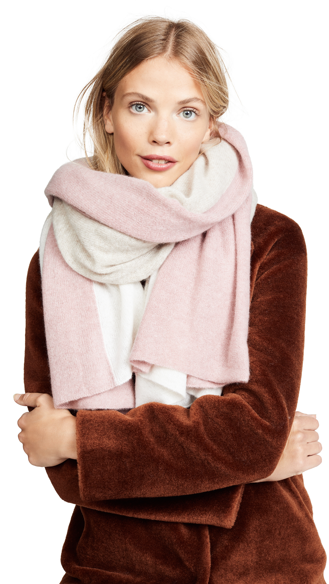 White + Warren Cashmere Instarsia Travel Wrap Scarf In Ash Rose Multi