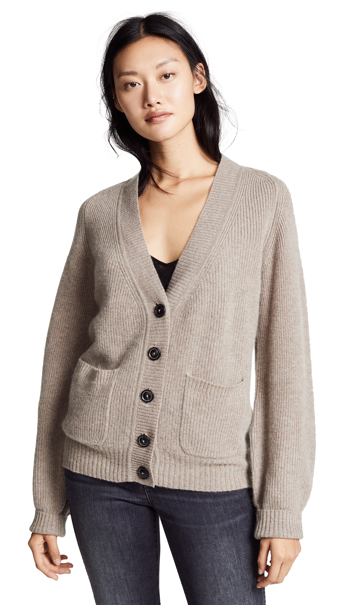 White + Warren Boyfriend Cashmere Cardigan In Mink Heather