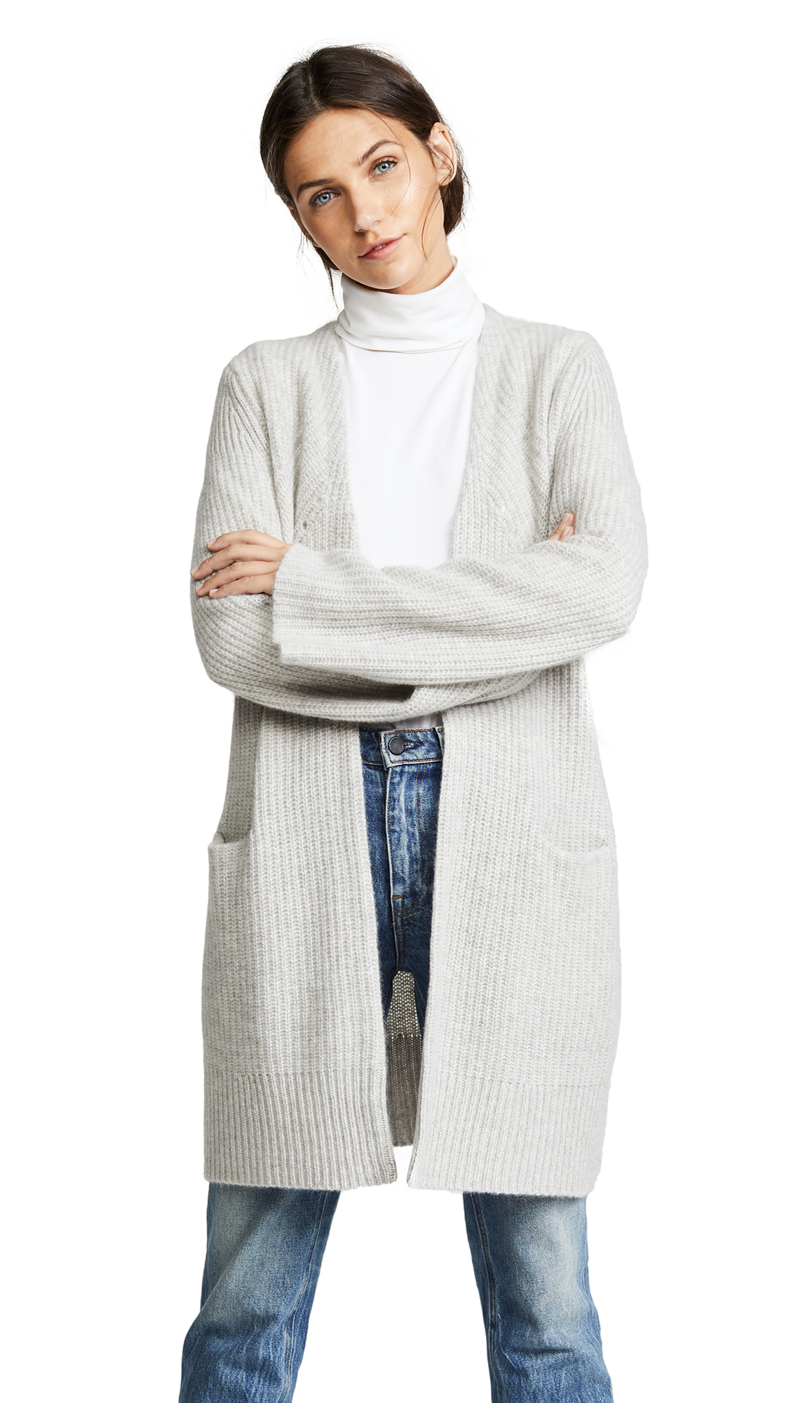 White + Warren Luxe Stitch Cashmere Coatigan In Misty Grey